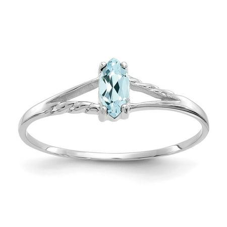 10k White Gold Polished Geniune Aquamarine Birthstone Ring, Gem Ctw.0.2