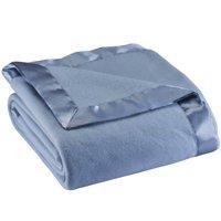 Satin Fleece Blanket by OakRidge™-Full Queen-Blue