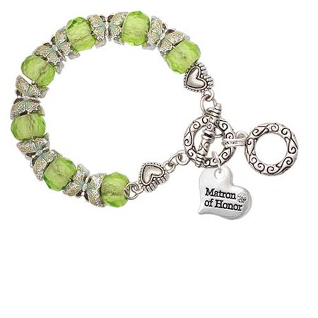 Silvertone Large Matron of Honor Heart Lime Green Butterfly Bead Charm Bracelet