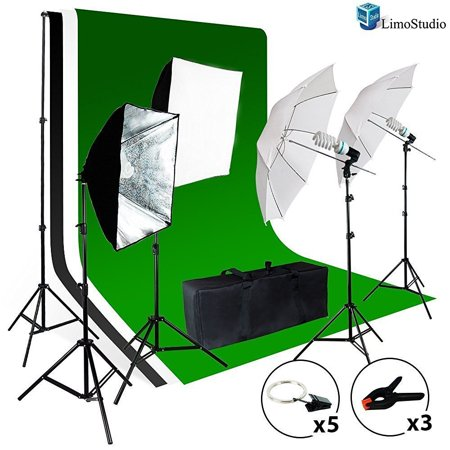 LimoStudio Photo Video Studio Light Kit - Includes Chromakey Studio Background Screen (Green Black White), (3) Muslin BackDrops, Umbrella, Softbox, Lighting Diffuser Reflector, LIWA35