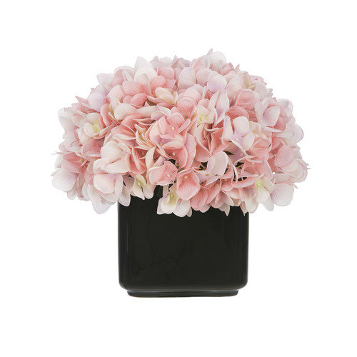 House of Silk Flowers Inc. Artificial Hydrangea in Small Black Cube Ceramic