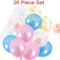 Gender Reveal Balloons Pink Blue Confetti Balloon Globos Baby Shower (26 Piece)
