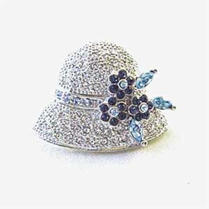 Platinum-Plated Blue & White Swarovski Crystal Hat Design Brooch Pin Gift Boxed by