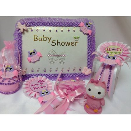 Pink Owl Baby Shower Party Guest Book Favors Corsage Badge Party