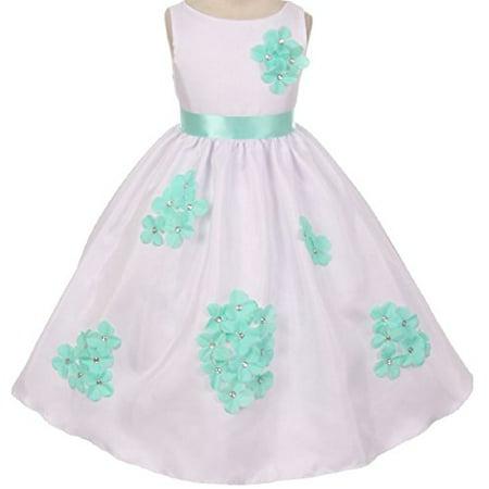 918be3b7b Dreamer P - Big Girls' Dress Kids 3D Flower Petals Beaded Special Occasion  Flower Girl Dress Flower Girl Dress Mint 10 (K20D4F) - Walmart.com