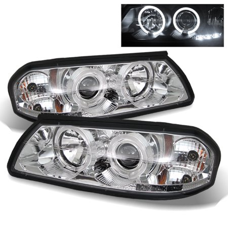 Fits 00-05 Chevy Impala Chrome Clear Dual Halo Projector LED Headlights Lamp Set Chrome Clear Halo Headlights