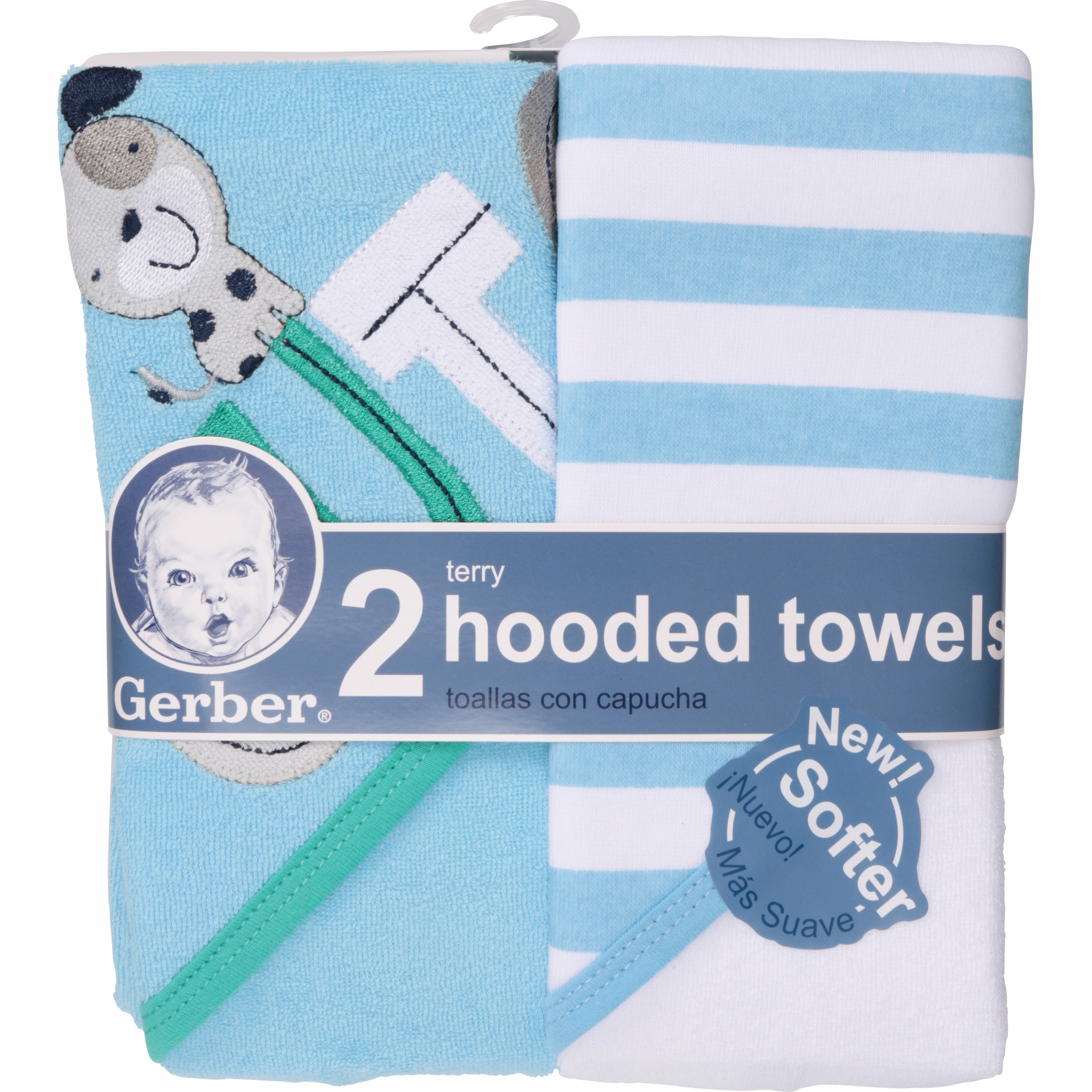 Gerber Newborn Baby Boy Terry Hooded Bath Towel, Dog, 2 Pack