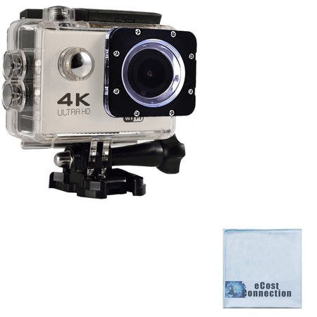 eCostConnection 4K Ultra HD 16MP WiFi Waterproof Sports Action Camera (White) with Anti-Shake DSP + eCostConnection Microfiber Cloth