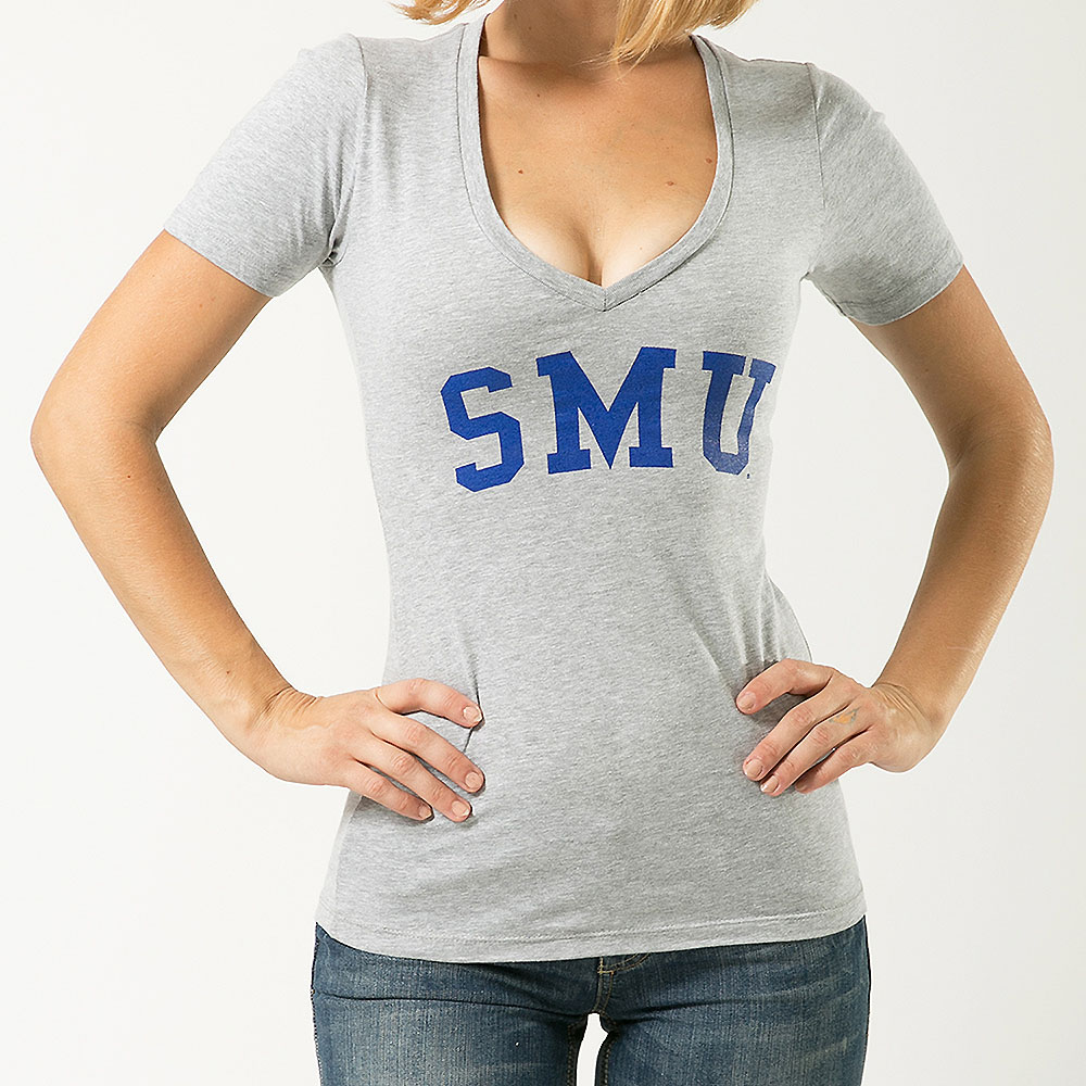 Southern Methodist Mustangs Womens Game Day T-Shirt (Gray)