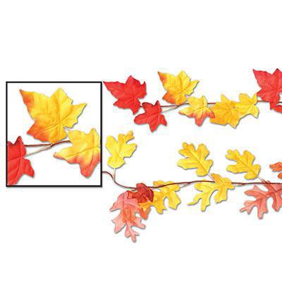 Beistle 90845 Fabric Autumn Leaf Garland 6'