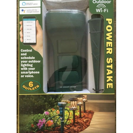 Charging Essentials CE Smart Home Outdoor WiFi 6 Outlet Garden Yard Power Stake