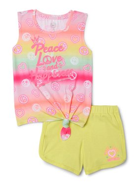 Wonder Nation Girls' 4-18 & Plus Graphic Tank Top and Shorts, 2-Piece Outfit Set