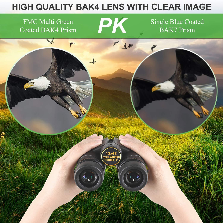 FMC Kylietech 12x42 Binocular for Adults with BAK4 Prism High Power Binoculars