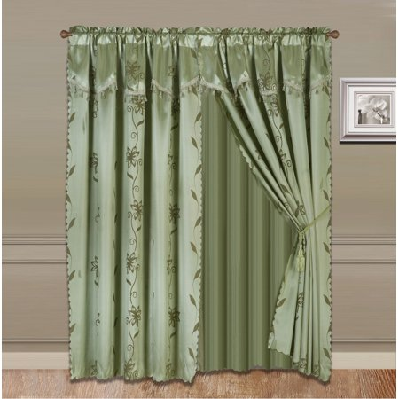Floral Design Faux Silk (NADA SAGE GREEN COMPLETE WINDOW CURTAIN SET 2 panels faux silk  LEAF FLORAL 2 PANEL solid SHEER 2 attached VALANCE 2 TASSEL THICK HEAVY WINDOW CURTAIN drape 63