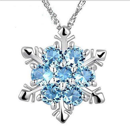 JOYFELL Women's Natural Stone Necklace Crystal Silver Plating Snowflake Style Pendant - Snowflake Necklace Tiffany