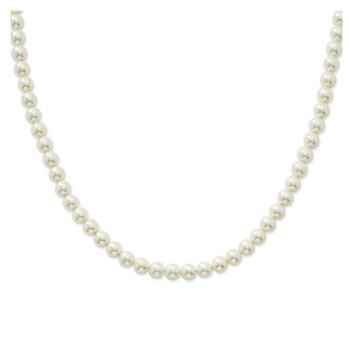 Jewelryweb 8mm Cultura Glass Pearl Single Strand Necklace
