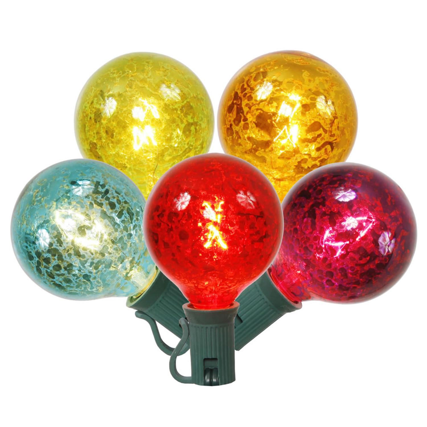 Pack of 10 Multi-Color Crackle Glass G50 Globe Replacement Christmas Lights