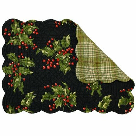 Holly Black Quilted Reversible Placemat By, April Cornell's Christmas Holly Pattern By April Cornell