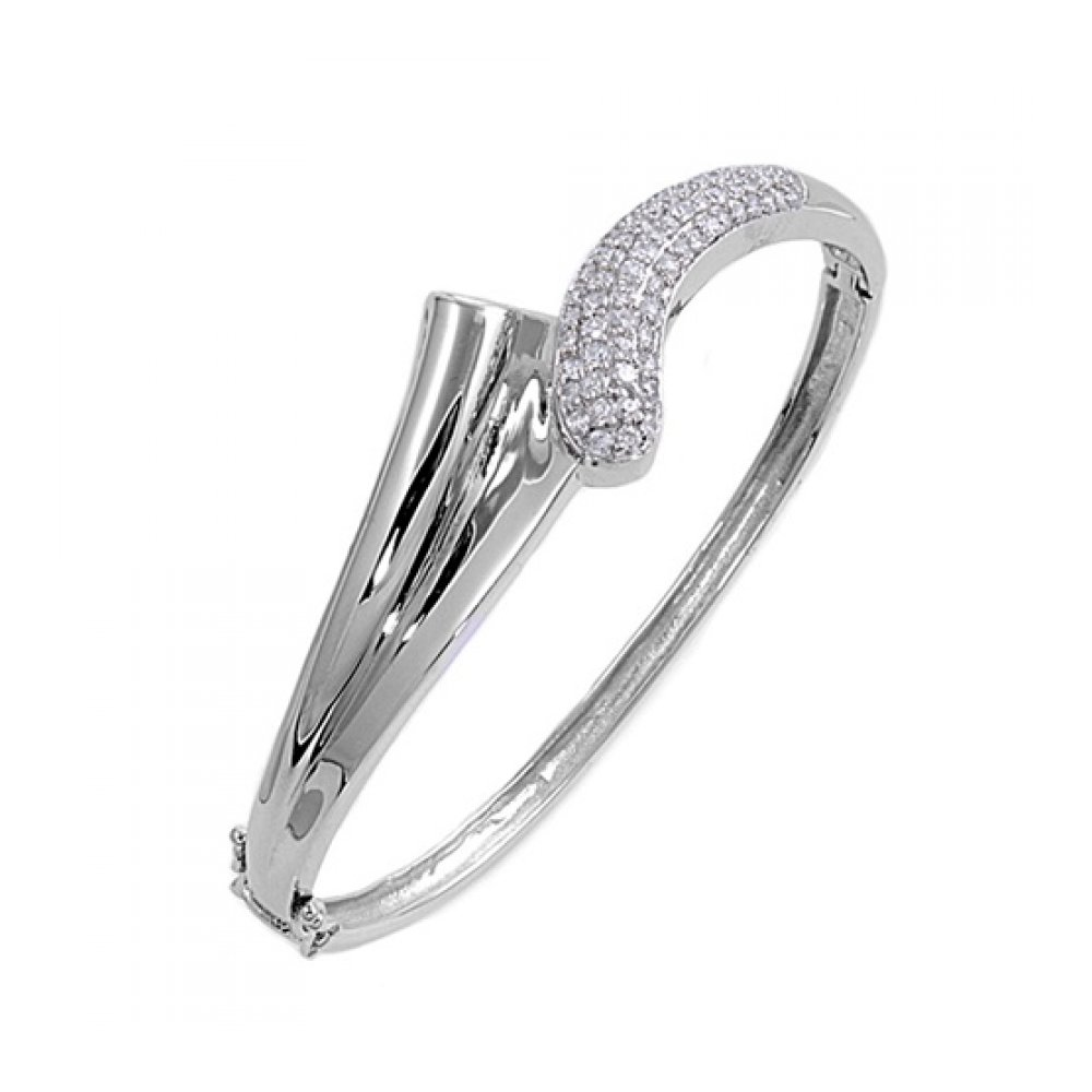 925 Sterling Silver Bangle With Cubic Zirconia