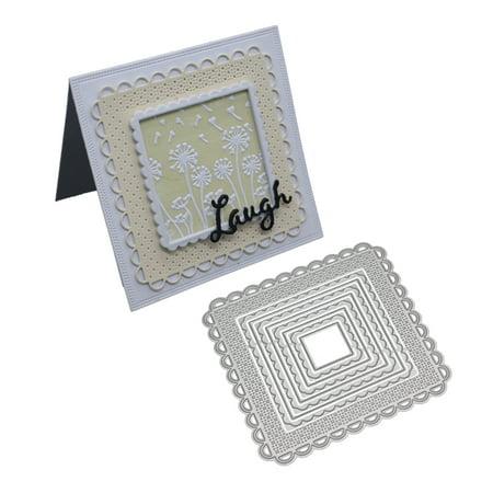 (Multi-Piece Square Frame Cutting Dies Stencil Metal Mould Template for DIY Scrapbook Album Paper Card Making)