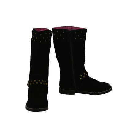 Little Girls Black Studded Side Zipper Tall Winter Boots](Black Boots For Girls)