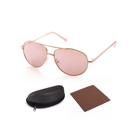 Aviator Sunglasses for Kids Girls Children, Gold Metal Frame Lens, Pink Tinted Lens, Case - Toddler Aviators