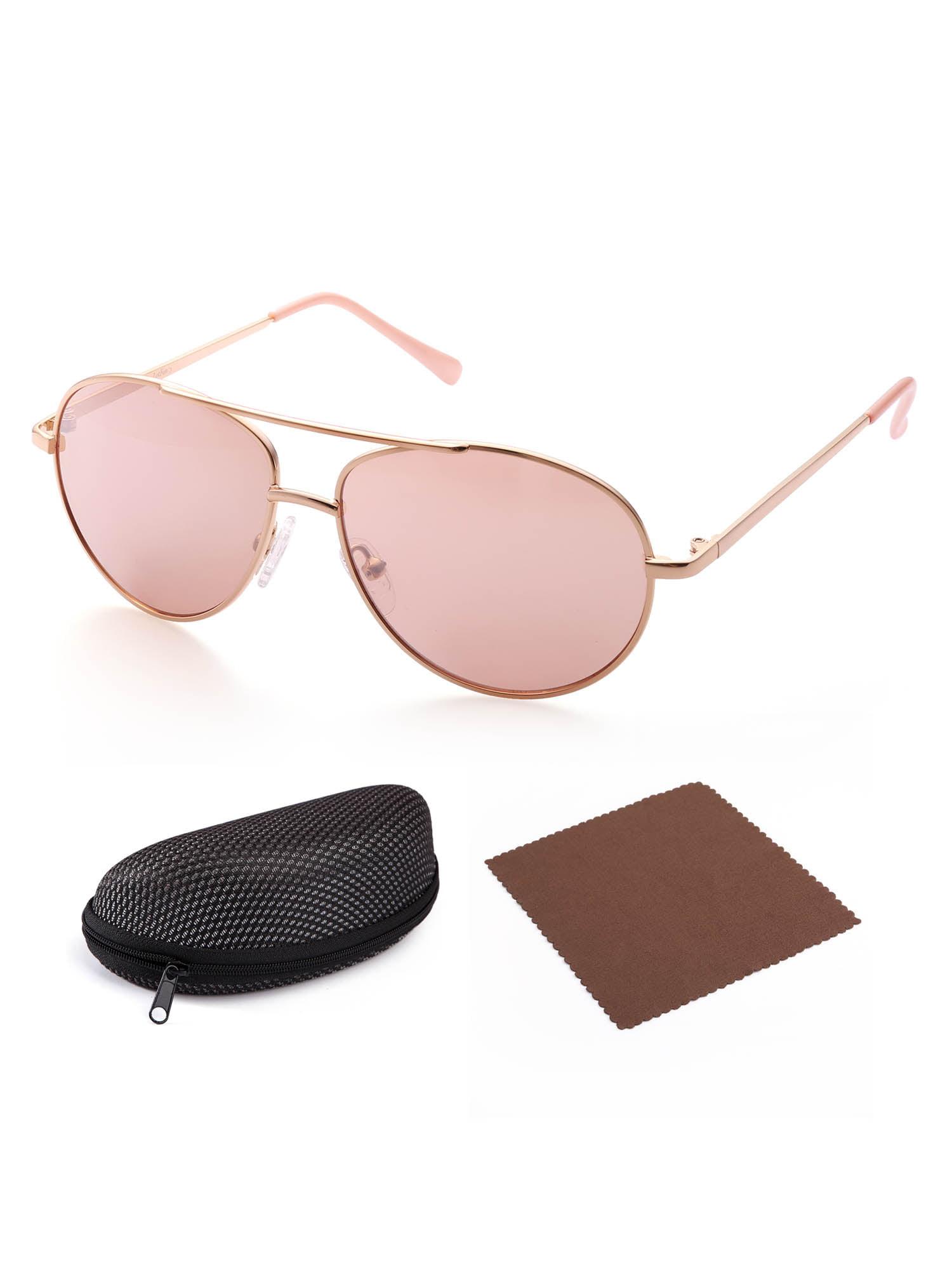 Aviator Sunglasses for Kids Girls Boys Children, Gold Frame, Pink Lens,UV400 Protection, Case Included