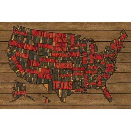 Printers Block US Map Red Poster Print By Tara Reed Walmartcom - Us map poster walmart