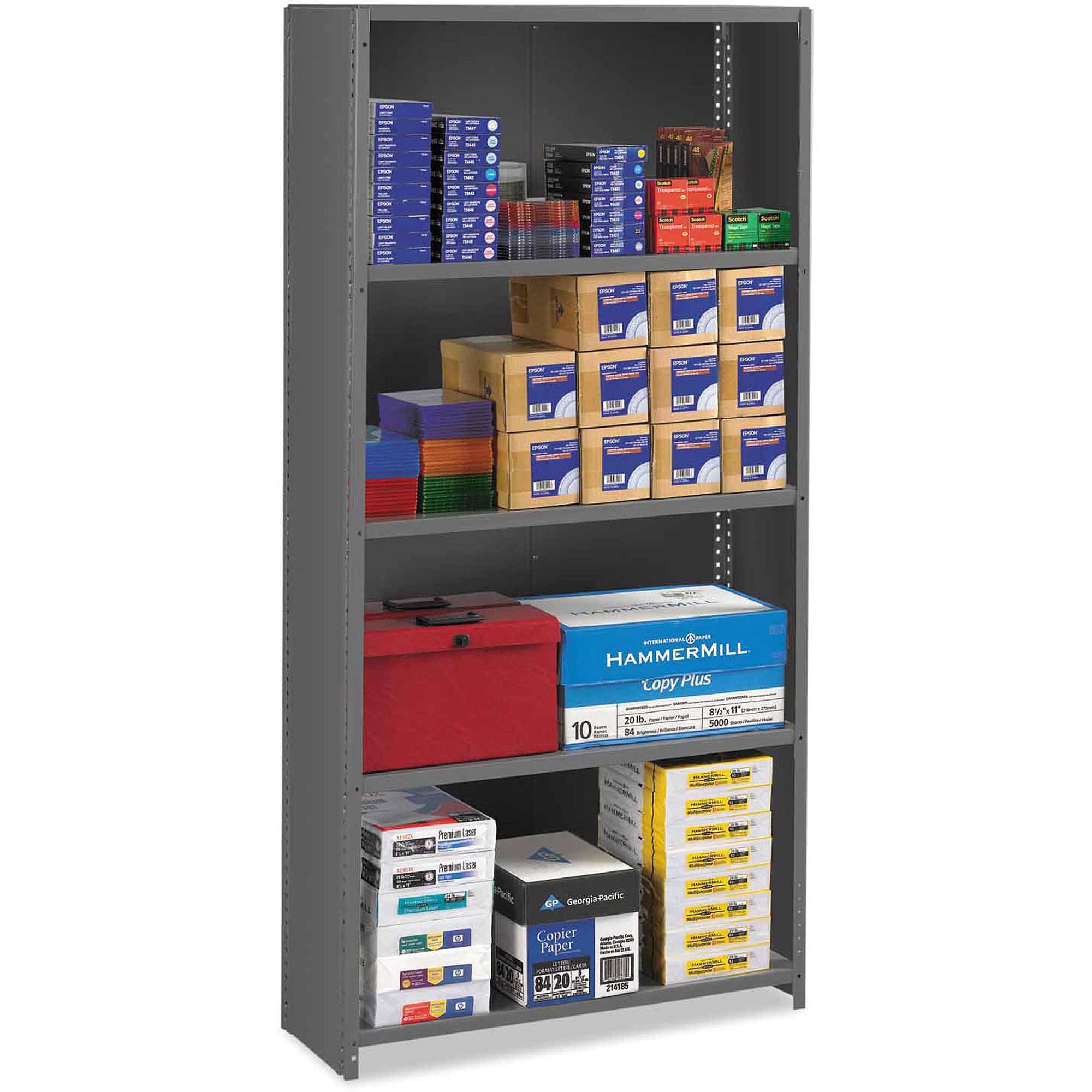 Tennsco 5-Shelf Closed Commercial Steel Shelving, Medium Gray