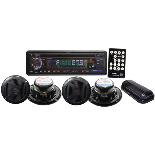 Pyle PLCD4MRKT Marine Waterproof 4-Speaker CD/USB/MP3/Combo with Stereo Cover