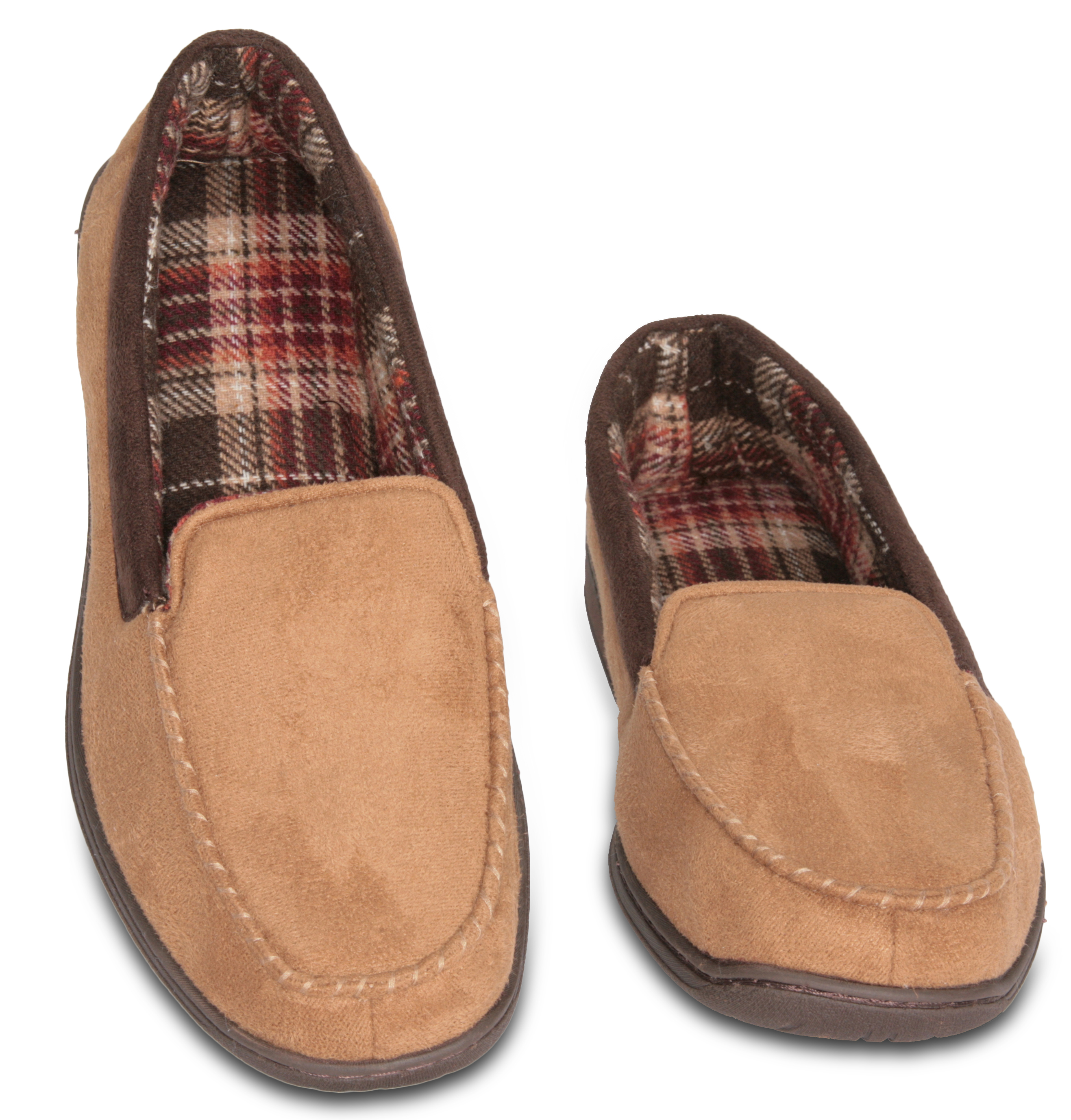 Mens Memory Foam Slippers   Mens Suede House Slipper Terry Lining Camel  11 12