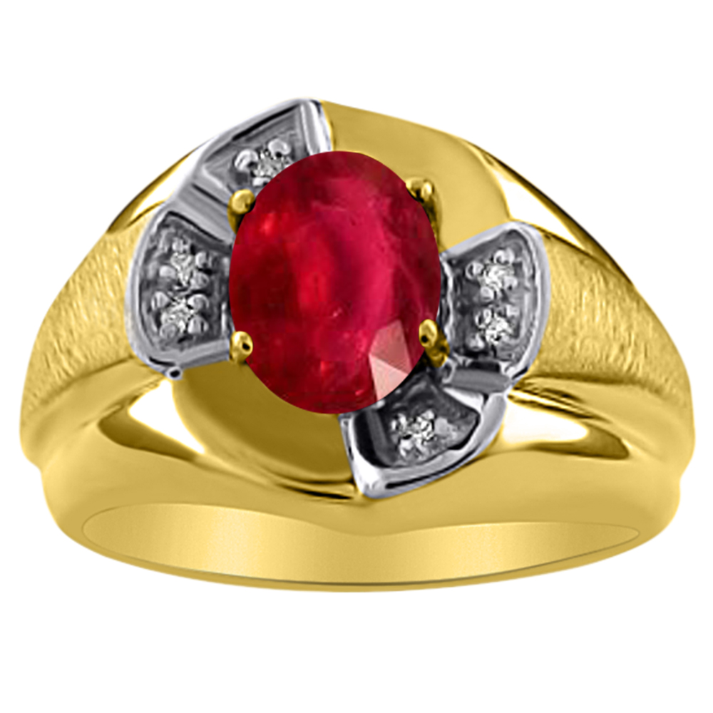 Unisex Ruby & Diamond Ring 14K Yellow Gold Band by Elie Int.