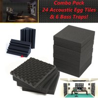 Combo Pack Acoustic Foam Egg Panel Wall Tiles & Bass Traps Home Theater Gaming Music Room 24 Tiles and 6 Bass Traps