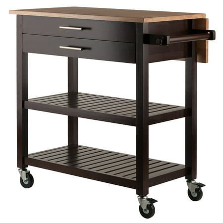 Enclosed Drop Leaf Cart - Winsome Wood Langdon Drop Leaf Kitchen Cart, Cappuccino w/ Natural