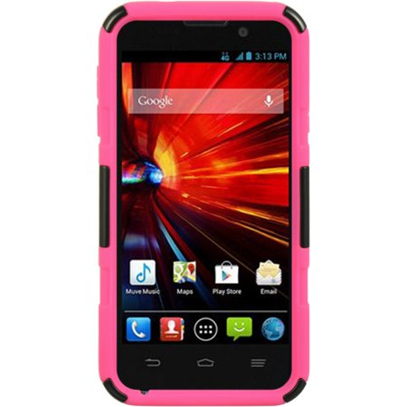 ZTE Source Case, by Insten Hybrid Hard Plastic/Silicone Dual Layer Case Skin with Holster For ZTE Source - Black/Hot Pink - image 4 of 5