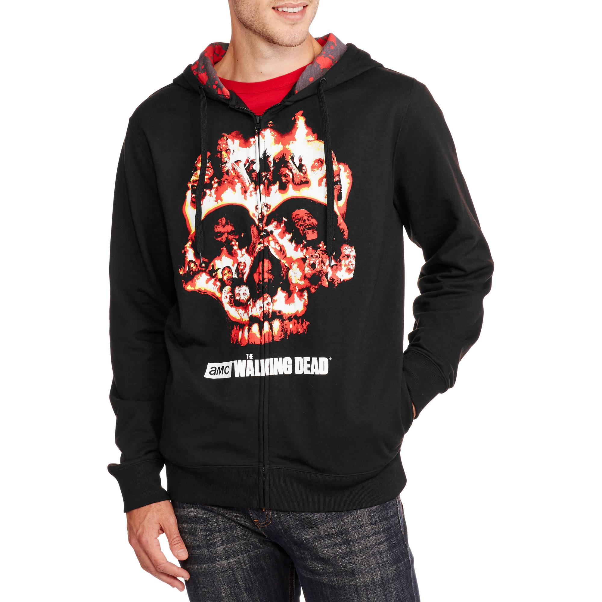 Walking Dead Big Men's Zip Front Fleece Hoodie, 2XL