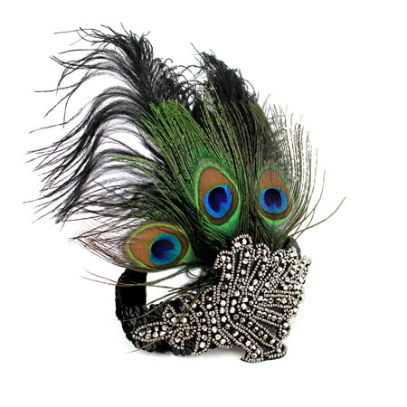 1920 Great Gatsby Dresses (Peacock Feather headband 1920's Flapper Great Gatsby Party Headpiece Accessories with Sequined Vintage Costume (Black))