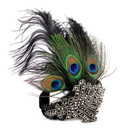 Peacock Feather headband 1920's Flapper Great Gatsby Party Headpiece Accessories with Sequined Vintage Costume (Black) New - Great Gatsby Female Outfits