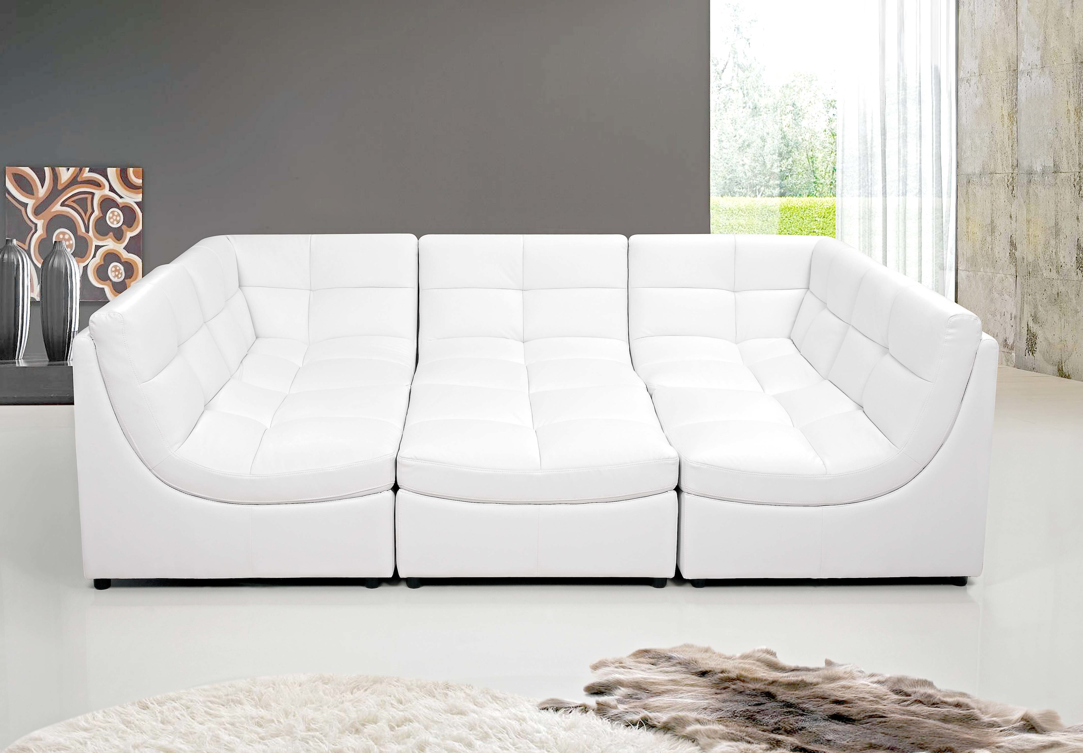 White sectional sofa set couch bonded leather armless chairs corners ottoman modern living room walmart com