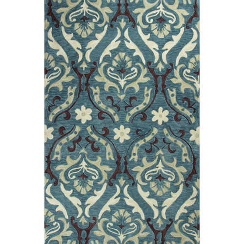 KAS Rugs Anise Blue Damask Area Rug