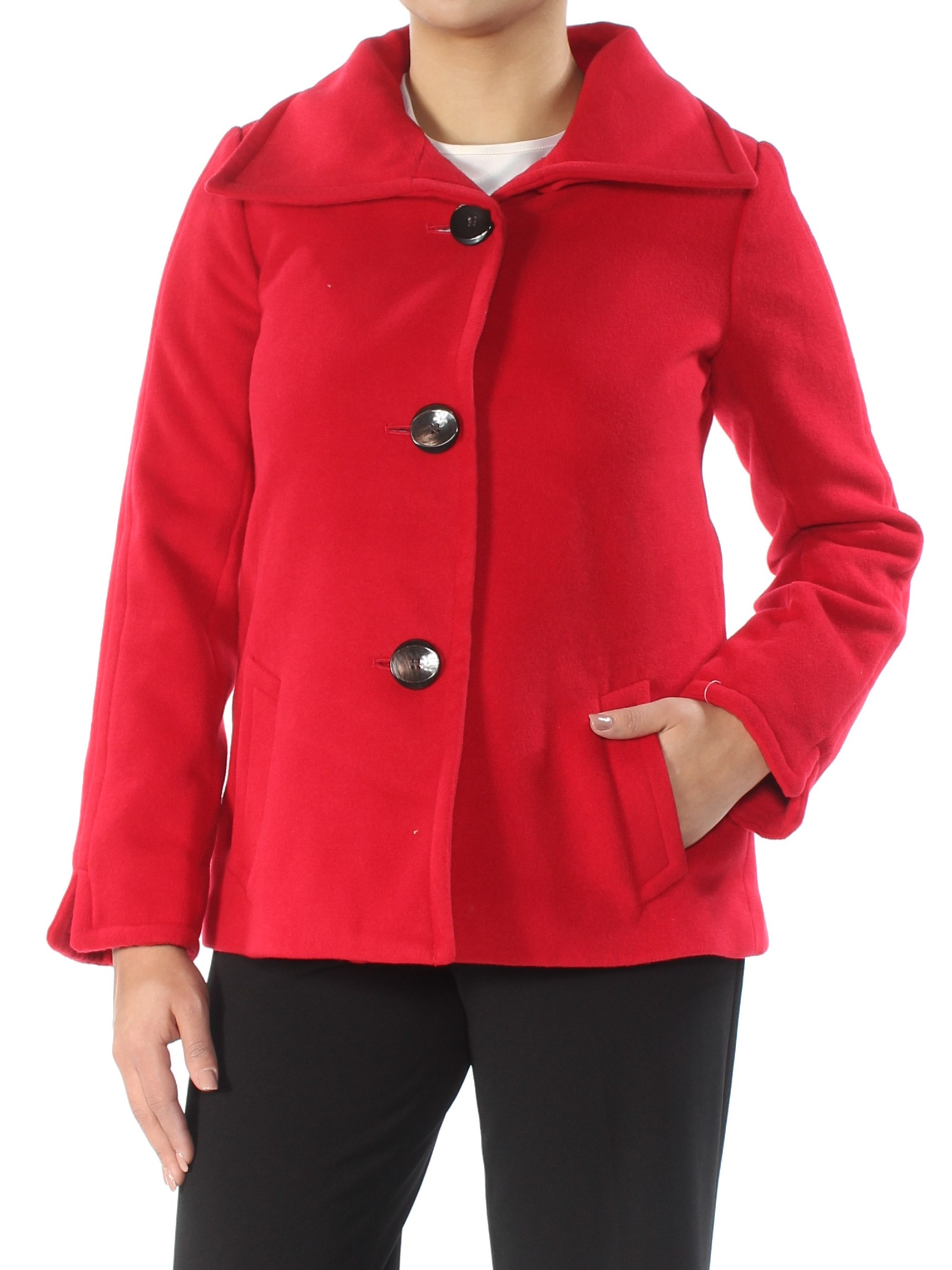 JM COLLECTION Womens Red Wing-collar Coat Petites  Size: 0