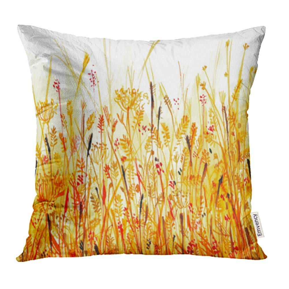 USART Red Plant Orange Thickets of Grass Meadow Watercolor Yellow Floral Tropical Gold Pillow Case Pillow Cover 16x16 inch Throw Pillow Covers