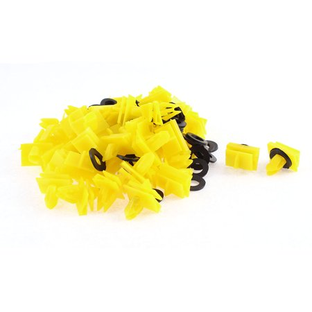 Unique Bargains 50 Pcs Yellow Plastic Door Rivet Trim Mat Moulding Clip for
