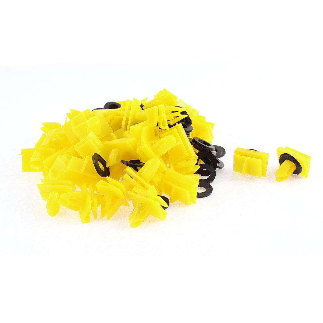 Unique Bargains 50 Pcs Yellow Plastic Door Rivet Trim Mat Moulding Clip for Buick