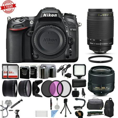 Nikon D7100 DSLR Digital Camera with 18-55mm VR II + 70-300mm f/4-5.6G Lens + 128GB Memory + 2 Batteries + Charger + LED Video Light + Backpack