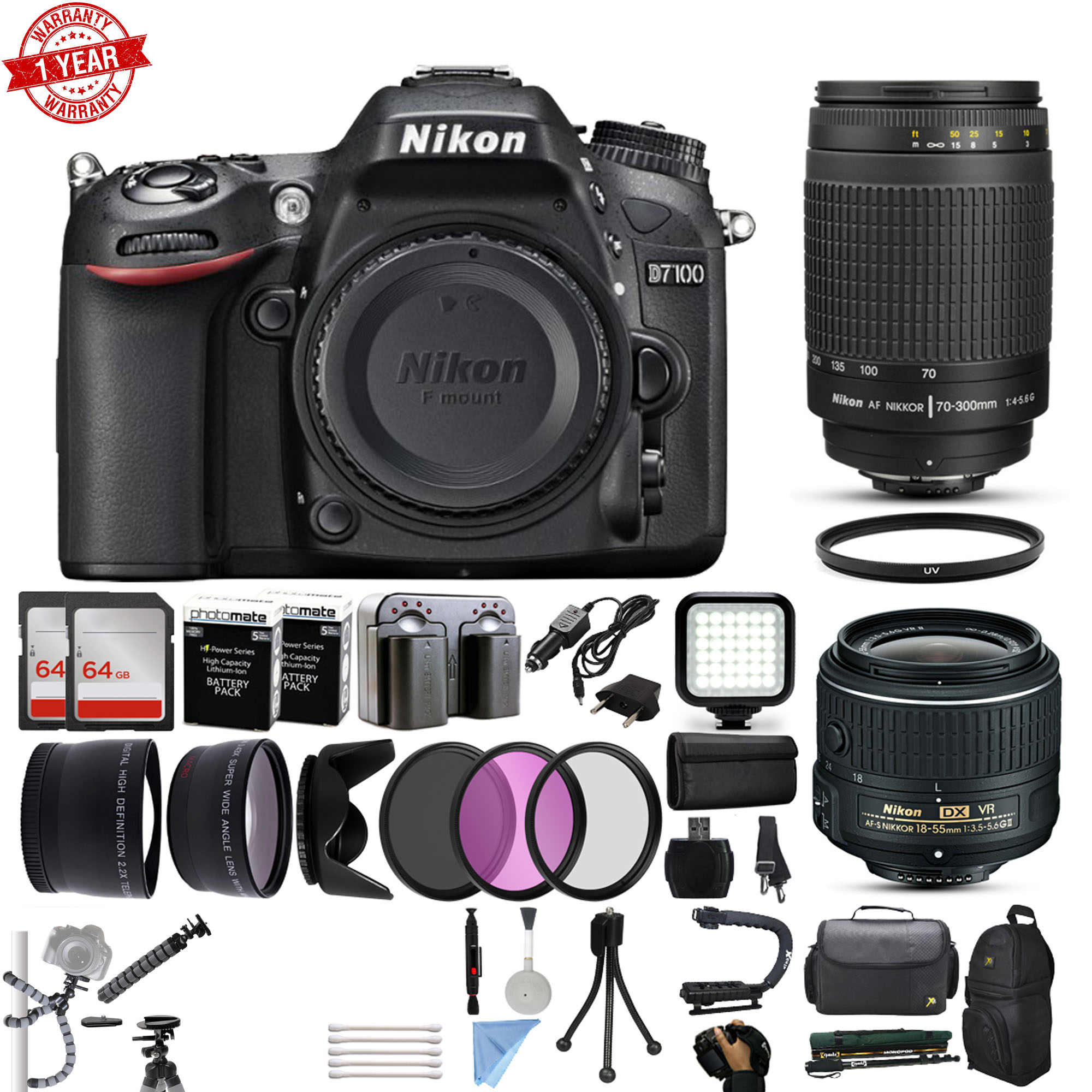 Nikon D7100 DSLR Digital Camera with 18-55mm VR II + 70-300mm f/4-5.6G Lens + 128GB Memory + 2 Batteries + Charger + LED Video Light + Backpack