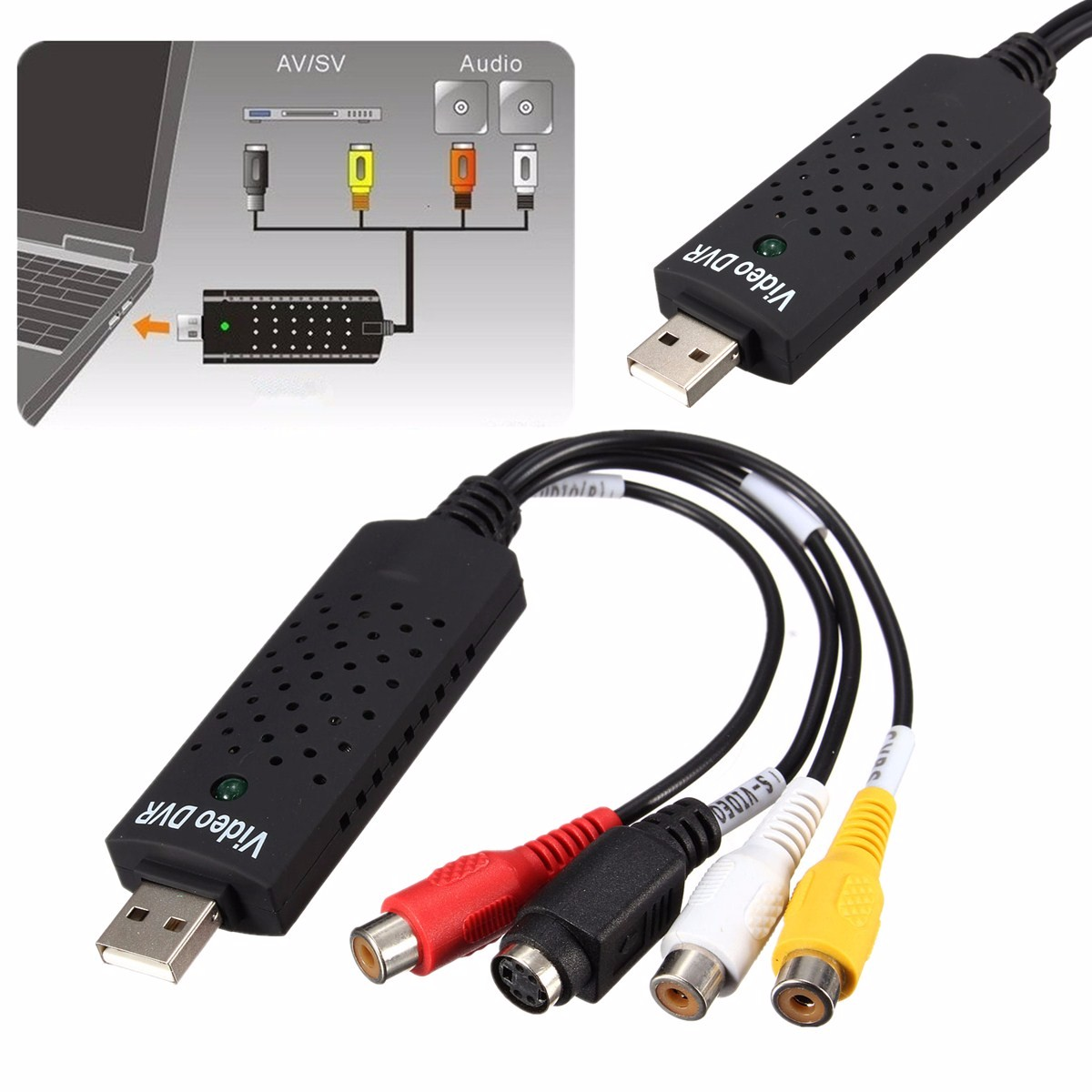 USB 2.0 Video Audio VHS to DVD PC Converter Capture Card Adapter Win 7 8 10