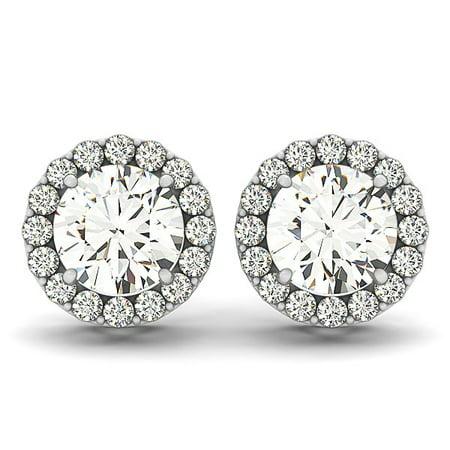 14K White Gold Four Prong Round Halo Diamond Earrings (1 1/6 ct. tw.)