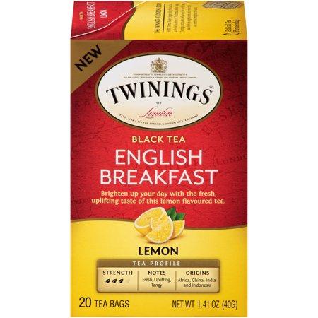 Twinings of London English Breakfast Lemon Black Tea Bags, 20 Count, Pack of 6