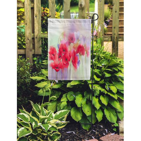 POGLIP Watercolor Red Poppy Flowers Painting Paint in Color and Blur Green Purple Spring Floral Seasonal Nature Garden Flag Decorative Flag House Banner 12x18 inch - image 2 of 2